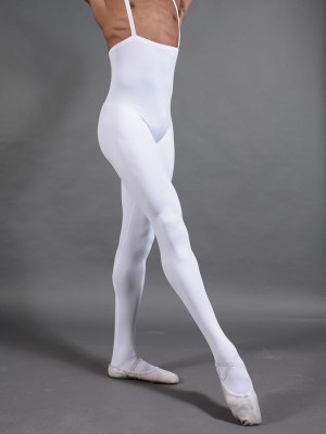 Mens White Footed Performance Tights
